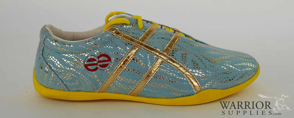 Leather Wushu shoes - blue golden stripes