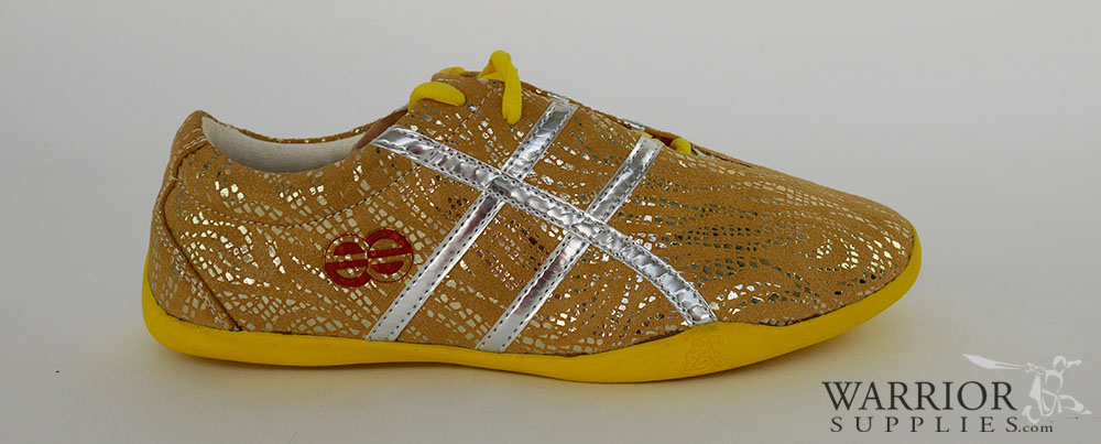 Leather Wushu shoes - yellow silver stripes